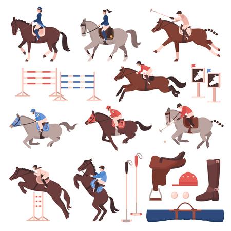 Ilustración de Equestrian sport set of flat icons with riders and polo players, horses, gear, hurdles isolated vector illustration - Imagen libre de derechos