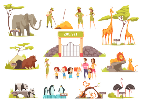 Illustration pour Cartoon set of happy children with their parents looking at various animals at zoo isolated on white background vector illustration - image libre de droit