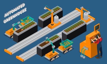 Ilustración de Automated greenhouse isometric composition with farming robots and worker near control panel on blue background vector illustration - Imagen libre de derechos