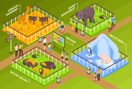 Illustration pour Isometric zoo horizontal composition with zoological garden site fence cages with different animals and visitor characters vector illustration - image libre de droit