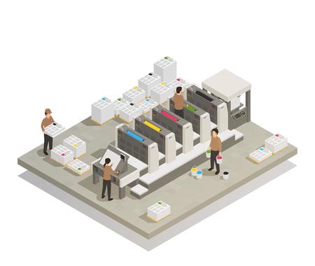 Illustration pour Printing house facility illustration. - image libre de droit