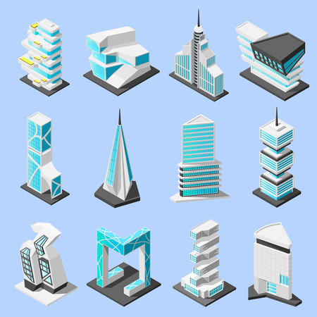 Illustration pour Isometric futuristic architecture set with isolated images of hi tech style modern buildings and skyscrapers vector illustration - image libre de droit