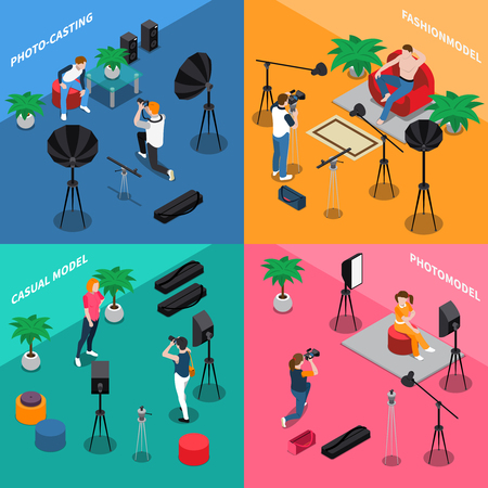 Illustration pour Photo model agency isometric concept with people posing for camera, photographers on color background isolated vector illustration - image libre de droit