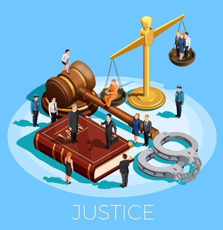 Illustration pour Law design isometric conceptual composition with little people on top of balance gavel legal code and wristbands vector illustration - image libre de droit