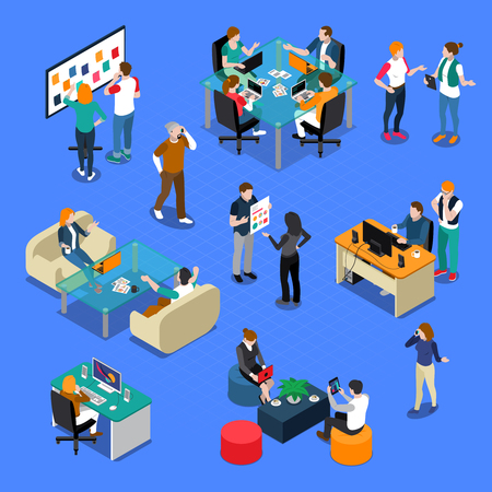 Illustration for Coworking isometric set with people in workplace, during talking or creative process, interior elements isolated vector illustration - Royalty Free Image