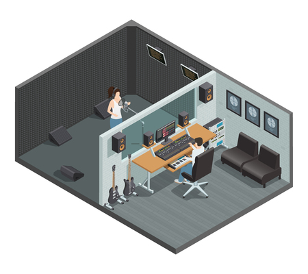 Illustration pour Isometric interior of music studio with soundproof booth for vocal recording control room and people characters vector illustration - image libre de droit