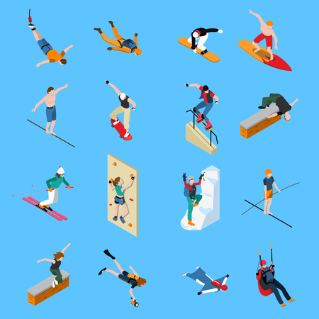 Illustration for Extreme sports people isometric set with diving skateboarding paragliding skiing surfing on blue background isolated vector illustration - Royalty Free Image