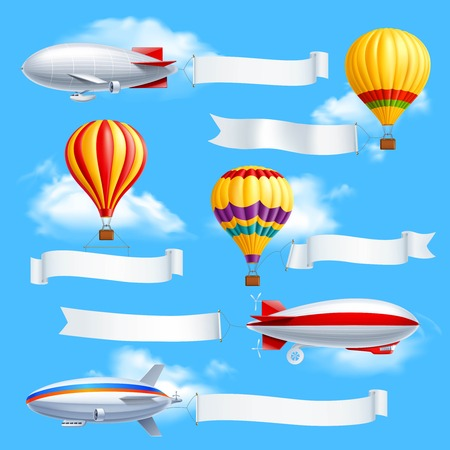 Illustration pour Colored advertising banners composition dirigible and air balloons with attached white fabric banners vector illustration - image libre de droit