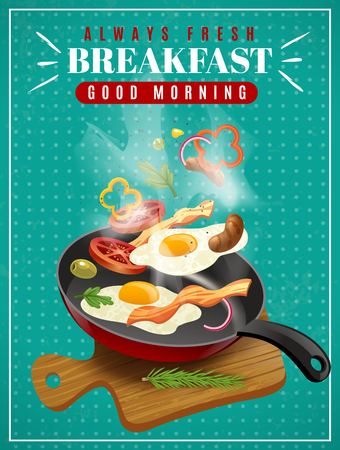 Illustration pour Fresh breakfast poster with meat vegetables fried eggs pan and cutting board on turquoise background vector illustration - image libre de droit