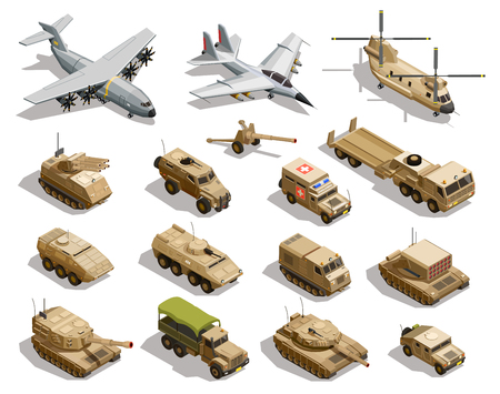 Illustration pour Army transport isometric icons collection with cargo aircraft helicopter fleet fighter tanks military vehicles isolated vector illustration     - image libre de droit