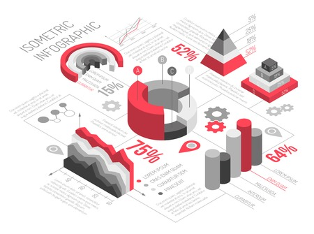 Ilustración de Isometric diagrams infographics black and white with solid geometric objects for graphs and diagrams with text vector illustration - Imagen libre de derechos