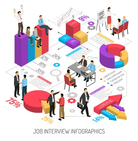 Illustration pour Job interview infographics with isometric images of colourful diagrams arrows editable text columns and human characters vector illustration - image libre de droit