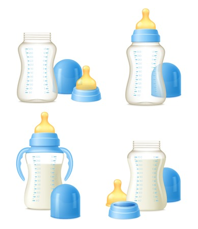 Illustration pour Durable baby milk bottles constructor 4 realistic compositions set with easy to hold grips isolated vector illustration - image libre de droit