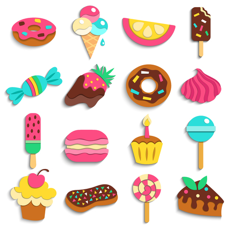 Illustration pour Sweets trendy children party treats flat colorful icons collection with donuts ice cream candies isolated icons illustration - image libre de droit