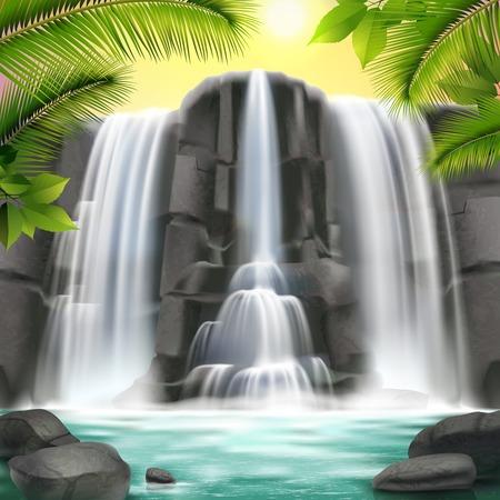Ilustración de Realistic waterfall with water, rock, sky and trees illustration. - Imagen libre de derechos