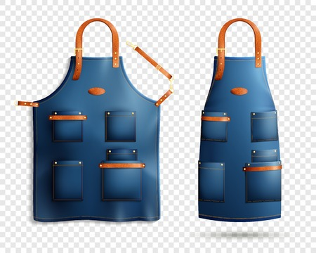 Illustration pour Set of realistic blue aprons with pockets, leather loop and belt isolated on transparent background vector illustration - image libre de droit
