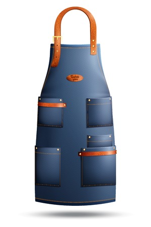Illustration pour Realistic denim apron with pockets, metal rivets and clasp on loop isolated on white background vector illustration - image libre de droit