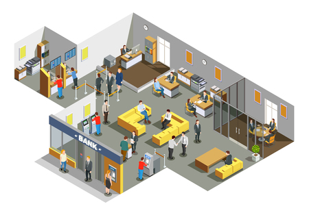 Illustration pour Bank offices interior with customers in waiting area and accounting clerks attending clients isometric composition vector illustration  - image libre de droit