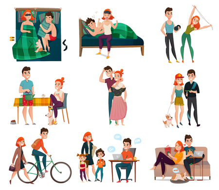 Illustration for Couple in daily life activities set vector illustration - Royalty Free Image