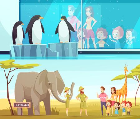Ilustración de Zoo animals 2 horizontal cartoon banners with elephant and giraffe in  environment and penguins vector illustration - Imagen libre de derechos