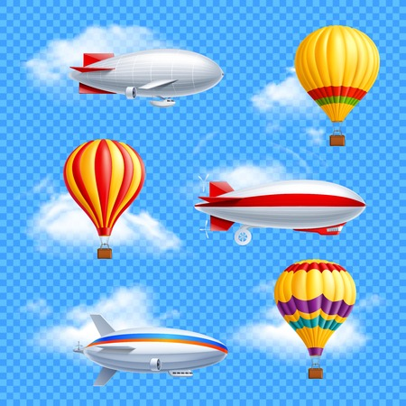 Illustration pour Realistic colored airship icon set air balloons and dirigible on transparent background vector illustration - image libre de droit
