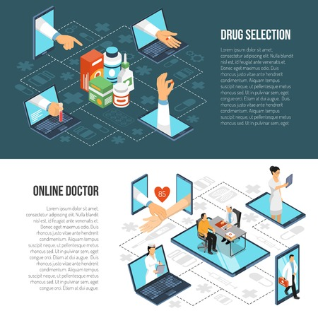 Illustration pour Online doctor virtual visit from mobile device for drugs selection, two horizontal isometric banners set vector illustration. - image libre de droit