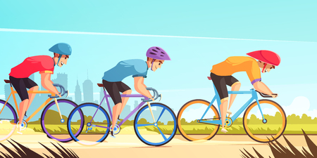 Illustrazione per Country road bicycle racing competition cartoon poster with three riders in uniform jerseys and helmets vector illustration  - Immagini Royalty Free