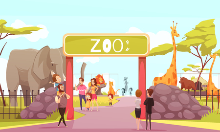 Illustration pour Zoo entrance gates cartoon poster with elephant giraffe lion animals and visitors on territory vector illustration - image libre de droit