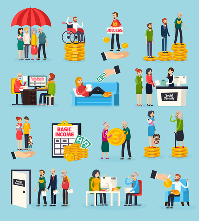 Illustration pour Social security orthogonal icons set with family protection, disability and unemployment benefits, documents execution isolated vector illustration - image libre de droit