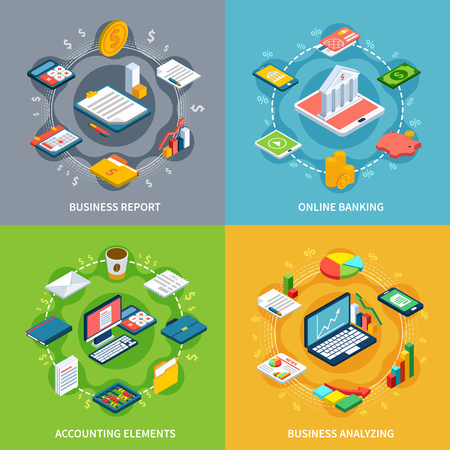 Ilustración de Accounting isometric design concept with round compositions of isometric icons graphs with money images and symbols vector illustration - Imagen libre de derechos