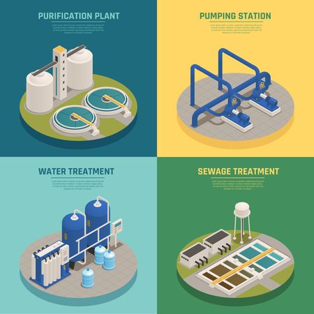 Illustration pour Water cleaning systems 4 isometric icons square with purification plant and sewage treatment background isolated vector illustration. - image libre de droit