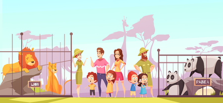 Illustration pour Family with kids at zoo between lions and pandas enclosures talking to animal curators. Cartoon vector illustration. - image libre de droit