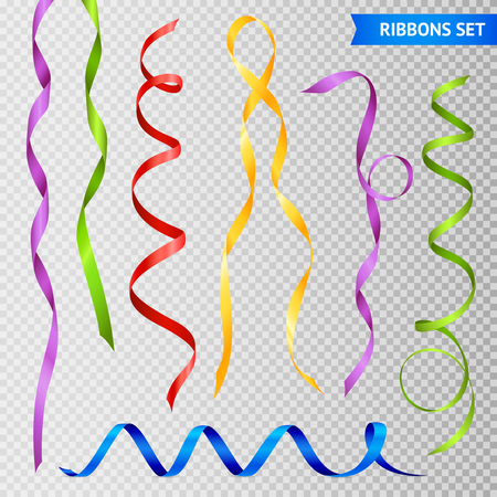 Illustration pour Set of realistic twisted glossy colorful ribbons with loops. Isolated on transparent background vector illustration. - image libre de droit