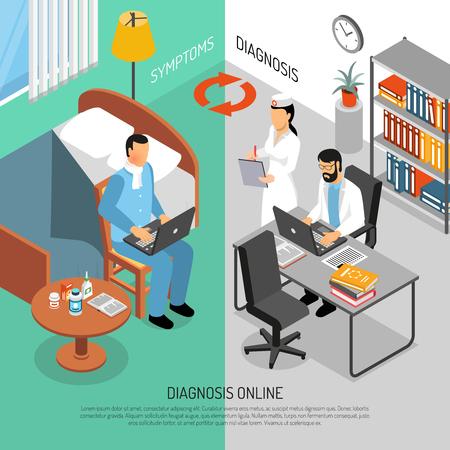 Illustration pour Online doctors worldwide checking symptoms for diagnosis treatment and  prescriptions 2 vertical isometric banners set vector illustration - image libre de droit