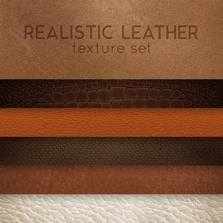 Ilustración de Close-up leather textures samples for furniture upholstery  and interior design horizontal realistic stripes set vector illustration - Imagen libre de derechos