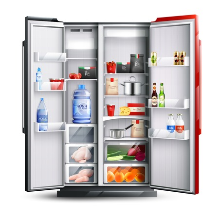 Illustration pour Open refrigerator with two red and black doors full of fresh products in realistic style isolated vector illustration   - image libre de droit