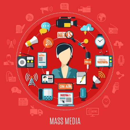 Illustration pour Mass media round design concept with elements of classic and Internet journalism on red background flat vector illustration - image libre de droit