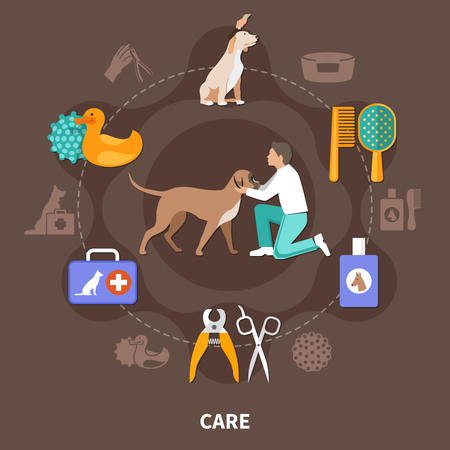 Ilustración de Dogs round composition of isolated medical equipment veterinary tools with toys and human character of vet vector illustration - Imagen libre de derechos