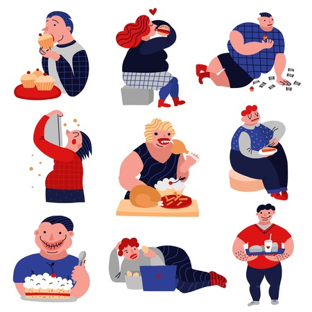 Illustrazione per Gluttony over-consumption of food and drink flat icons collection with overweight eating people isolated vector illustration  - Immagini Royalty Free