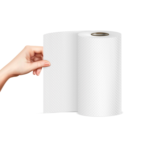 Ilustración de Hand pulling standing paper towel roll close-up front view realistic image vector illustration - Imagen libre de derechos