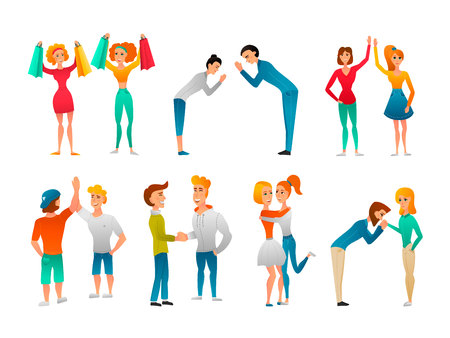 Illustrazione per Bode language hand gestures flat characters collection of people meeting greeting hugging each other isolated vector illustration  - Immagini Royalty Free