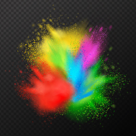 Ilustración de Holi paint explosion realistic composition with festive splashes of colourful paint with fine droplets on transparent background vector illustration - Imagen libre de derechos