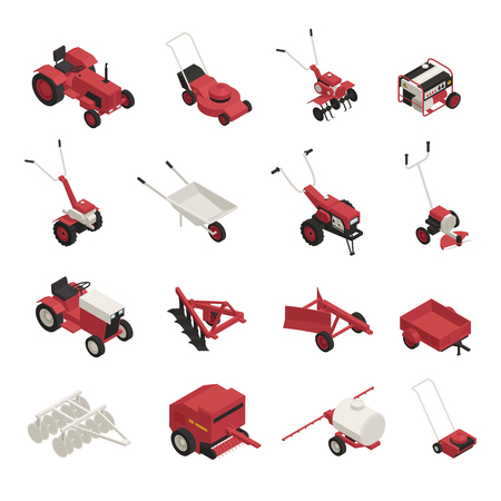 Illustration pour Garden farm machinery outdoor power equipment isometric icons collection with lawnmowers wheelbarrow brush cutters isolated vector illustration  - image libre de droit