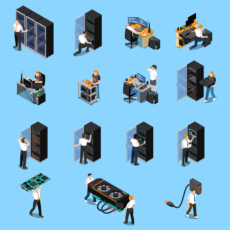 Illustration pour Information technology engineer and system administrator people at work isometric icons set isolated on blue background 3d vector illustration - image libre de droit
