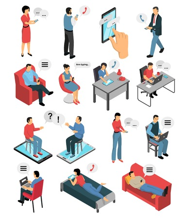 Illustration for Isometric icons set with people during chatting by phone, in messengers and social networks isolated vector illustration - Royalty Free Image