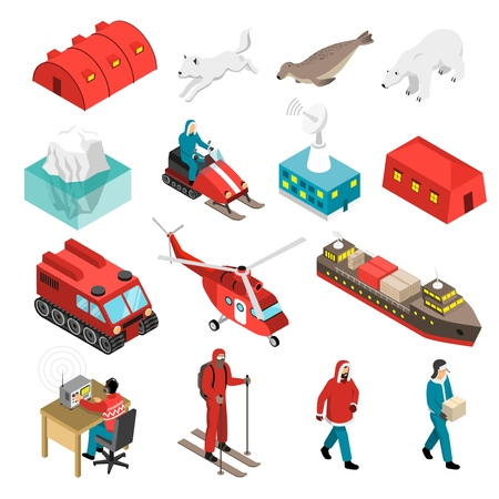 Illustration pour Arctic polar station isometric set with scientists, animals, base and transportation, satellite antenna, iceberg isolated vector illustration - image libre de droit