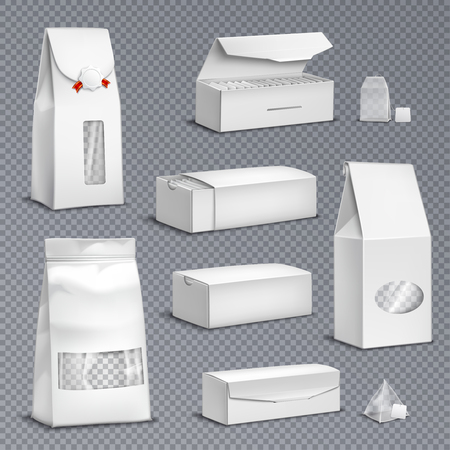 Ilustración de Blank white paper tea bags and loose leaves packs boxes packages realistic set transparent background vector illustration  - Imagen libre de derechos