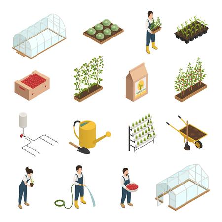 Illustration pour Greenhouse facilities personnel tools equipment plants accessories isometric icons set with wheelbarrow - image libre de droit