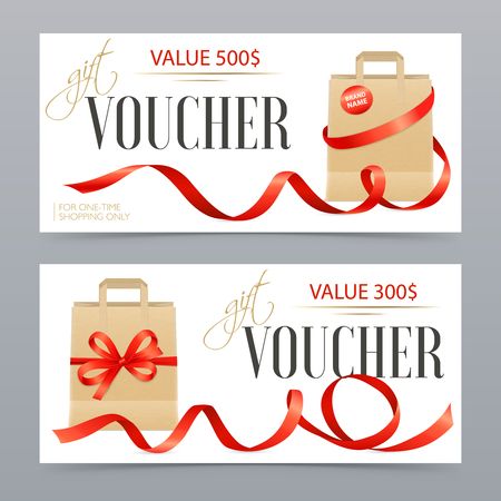 Illustration pour Two different value realistic vouchers decorated with red satin ribbons on luxury gift bags isolated vector illustration - image libre de droit
