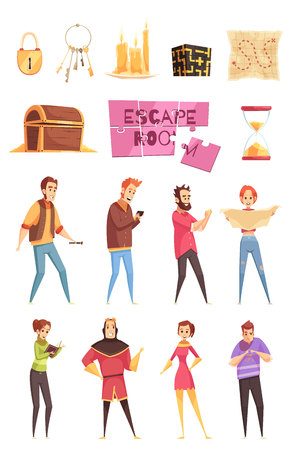 Illustration pour Cartoon decorative icons set for smart quest game in real life isolated vector illustration - image libre de droit